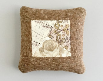 Linen Pincushion Brown Floral Pin Cushion Scrappy Patchwork Stuffed with Walnut Shells