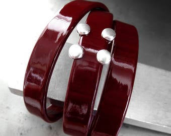 Patent Leather Wrap Bracelet in Deep Oxblood Red Burgundy, Sexy Shiny Dark Blood Red Leather Bracelet, Badass Bracelet with Magnetic Clasp