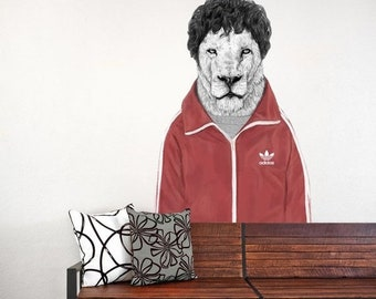 """ON SALE Quirky Lion Wall Decal Sticker Cut Out -  """"Chas"""" by Balázs Solti"""