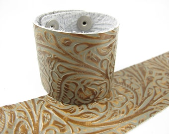 "Tooled Grey Copper Leather Cuff Bracelet 2"" Wide, #57-85241613"