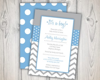 Baby Shower Invitation Boy | It's a Boy Baby Shower Invitation Blue | 5x7 Printable Invitations | Baby Shower Invite Template Download