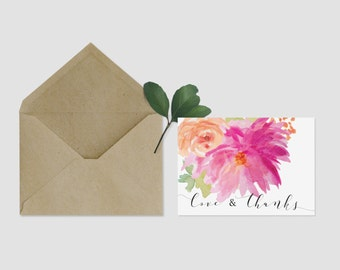 Love & Thanks Thank You Card - Instant Download