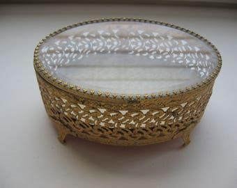 Vintage Gold Ormolu Jewelry Casket Box // Beveled Glass// Hinged Lid // Goldtone Filigree//Mothers Day Gift