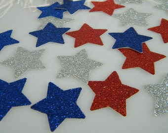 Red White (Silver) Blue Glitter Stars | Confetti | 4th of July Party | Patriotic Birthday | Table Scatter | Invitation Save the Date
