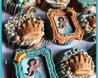 12 Princess Jasmine Aladdin Chocolate Oreos (Birthday party favor, princess jasmine, Bollywood theme, Aladdin, candy table, genie lamp)
