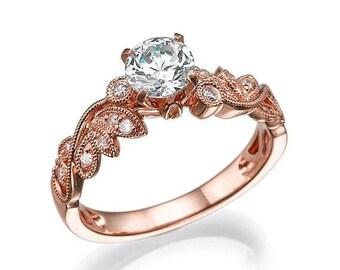 Gia Diamond Engagement Ring, Rose Gold Ring, Leaves Ring, Antique Ring, Art Deco Ring, Prong Setting Ring, Vintage Ring, leaf ring