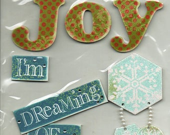 Christmas Soft Spoken  Scrapbook Stickers Embellishments Cardmaking Crafts Me & My Big Ideas