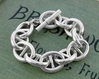 Chunky Bracelet-Silver Bracelet-Statement Jewelry-Silver Chain Bracelet-Thick Chain-Sterling Silver Bracelet-Bangle Bracelet-OtisJaxon
