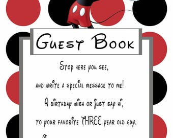 Mickey Mouse Guest Book Sign for 3 year old boy