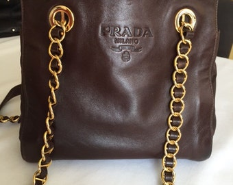 PRADA leather and nylon shoulder bag/Designers handbags/ Woman leather handbags/Brown/