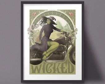 Wicked Art Wizard of Oz Motorcycle Elphaba Art Nouveau Illustration