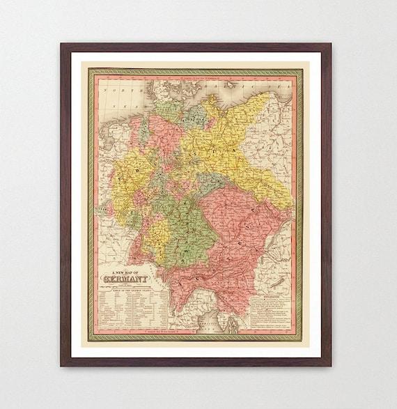 Germany Map - German Map - Map Art - Map Decor - Europe - Germany Art - Germany Decor - Vintage Germany - German Map - German Art - Europa