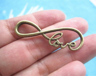 high quality very strong 30pc 38x17mm antiqued bronze 3D love word Infinity charms finidings connectors
