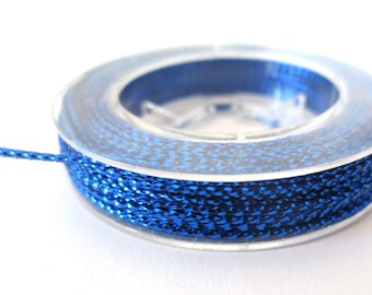 Cord braided metallic 1 mm, coil 10 m blue