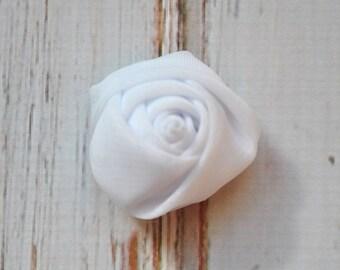 """5pc White Chiffon Rosette - 1.5"""" inch chiffon rose flowers"""