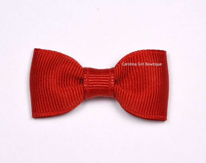 Red Baby Hair Bow ~ 2 in. Bows with No Slip Grip ~ Small Hair Bows Newborns Toddler Girls
