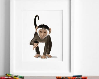 Monkey art print, baby monkey nursery artwork, jungle animal print - minimalist nursery illustration