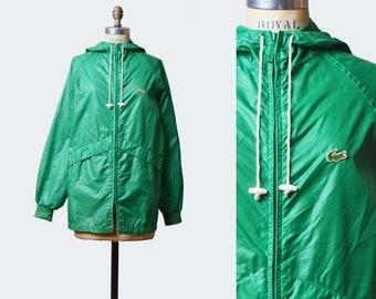 Vintage 80s Green Jacket Windbreaker HOODED Izod Lacoste Jacket / 1980s Coat Preppy Hipster Nylon Green Small Medium
