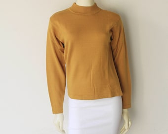 90's Vintage Mustard Yellow Long Sleeve Mock Turtle Neck Merino Wool Liz Claiborn Pullover Sweater