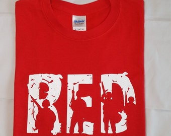 Support Our Troops - Wear RED on Friday Short Sleeve Shirt - Remember Everyone Deployed - Deployment - Child S-XL Adult Sizes S-XXXL
