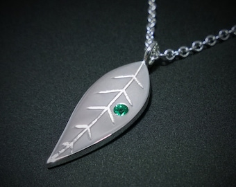 Emerald Leaf Necklace Pendant in Sterling Silver