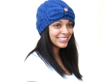 Crochet Beanie Hat, Crochet Cap, Crochet Spiral Hat, Color is Colonial Blue,