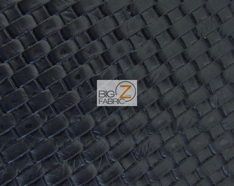 Lattice Basket Weave Upholstery Vinyl Fabric - BLACK - By The Yard Embossed PU Leather