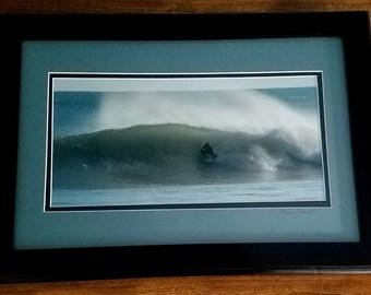 Signed and Framed Surfer in Barrel Photograph
