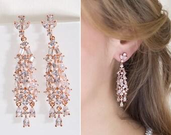 Rose Gold Earrings Bridal Jewelry Chandelier Earrings Wedding Jewelry Long Earrings Bridal Accessories Dangle Earrings E155-RG