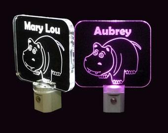 Personalized Kids Hippo LED Night Light, Kids Lamp, Handmade, Animals