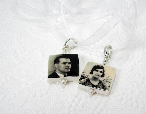 BC3x2 - Bridal Bouquet Charms, 2 Small Memorial Photo Pendants - Custom Wedding Jewelry