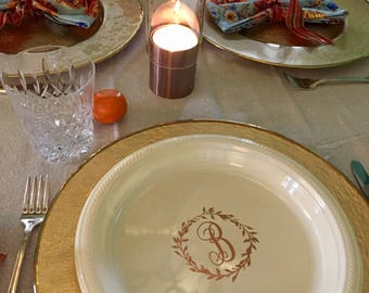 Personalized Dinner Plates 10.25  Monogrammed Custom Holiday Thanksgiving Friendsgiving Christmas Disposable Plastic & Personalized Dinner Plates 10.25 Monogrammed Custom