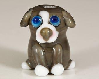 SALE - Gray Pit Bull Pup Lampwork Dog Bead