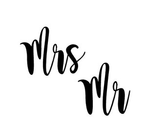 Mr and Mrs Decals   Engagement Gift   Bridal Gift