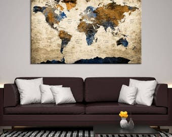 World map canvas etsy xlarge world map canvas print for home interior large wall art world map canvas art large wall art world map push pin canvas print gumiabroncs Image collections