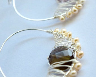 Amethyst and Quartz Mismatched Earrings