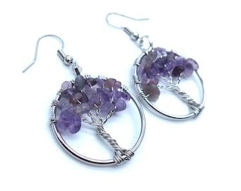 Amethyst Silver Wire Wisdom Tree Earrings