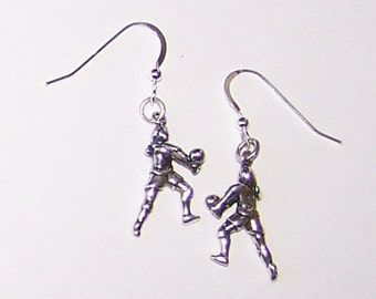 Sterling Silver 3D FEMALE VOLLEYBALL PLAYER Earrings - Sports