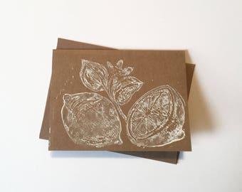 White Block Print On Craft Paper Blank Card