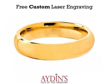 Tungsten Wedding Band Men Tungsten Ring    Womens Tungsten Ring   Domed Ring   Gold Tungsten   5mm Tungsten Wedding Ring