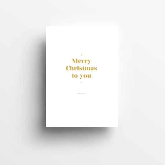 moderne Grußkarte Weihnachten, weiß/gold   |   modern greeting card Christmas, white/gold