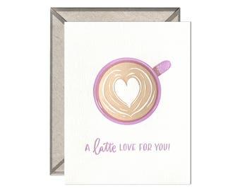 Latte Love letterpress card - love and valentine's