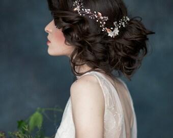 Rose Gold Flower Bridal Hair Vine, Crystal Hair Vine, Gold Headpiece, Gold Hair Vine, Ivory Headpiece, Bridal headpiece, Silver Vine, ETTA