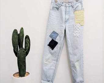 Vintage 80s 90s GUESS Jeans High Waisted Jeans Patchwork Jeans Womens Light Wash Jeans Tapered Leg Faded Mom Jeans XS 24 Inch Waist