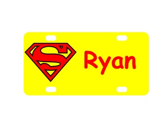 Kid's Superman Personalized Mini License Plate-Bike Plate-Kid's Bedroom Door Sign