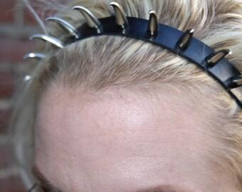Cat Claw Headband, Leather Headband, Spiked Headband, Headband with Buckle