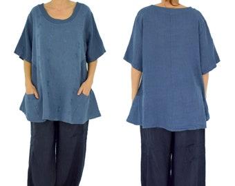 LA800MBL women's tunic blouse linen vintage embroidery gr. 46 48 50 Portable Medium Blue