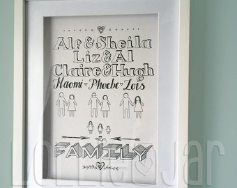 Personalised Hand Drawn Typography Family design with character illustrations