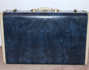 Vintage Marbled Blue Samsonite Hard Case Luggage 21""