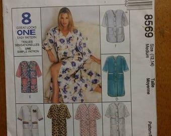 MCCALLS 8569, sewing pattern, women, ladies, robe, size (12, 14), sewing, pattern, loungewear, house coat